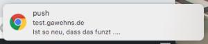 Auf dem Desktop erscheint eine kleine Nachricht.
